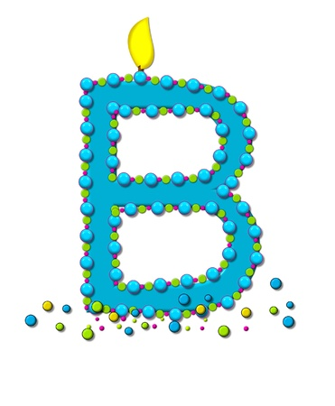 lit candles: The letter B, in the alphabet set Birthday Cake Candle, is aqua and outlined in fun colored sprinkles.  Flame burns from top of letter.  More sprinkles surround base of letter.