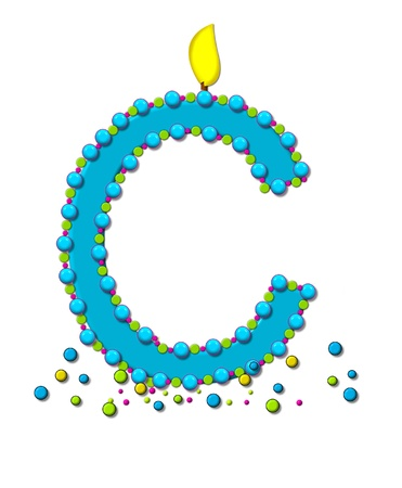 The letter C, in the alphabet set Birthday Cake Candle, is aqua and outlined in fun colored sprinkles.  Flame burns from top of letter.  More sprinkles surround base of letter. photo
