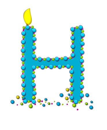 flame letters: The letter H, in the alphabet set Birthday Cake Candle, is aqua and outlined in fun colored sprinkles.  Flame burns from top of letter.  More sprinkles surround base of letter.