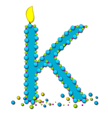 wick: The letter K, in the alphabet set Birthday Cake Candle, is aqua and outlined in fun colored sprinkles.  Flame burns from top of letter.  More sprinkles surround base of letter.