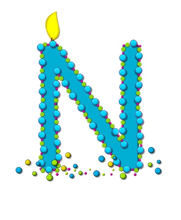 The letter N, in the alphabet set Birthday Cake Candle, is aqua and outlined in fun colored sprinkles.  Flame burns from top of letter.  More sprinkles surround base of letter.
