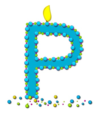 The letter P, in the alphabet set Birthday Cake Candle, is aqua and outlined in fun colored sprinkles.  Flame burns from top of letter.  More sprinkles surround base of letter.