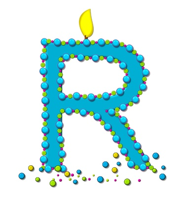 The letter R, in the alphabet set Birthday Cake Candle, is aqua and outlined in fun colored sprinkles.  Flame burns from top of letter.  More sprinkles surround base of letter.