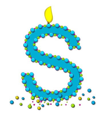 The letter S, in the alphabet set Birthday Cake Candle, is aqua and outlined in fun colored sprinkles.  Flame burns from top of letter.  More sprinkles surround base of letter. photo