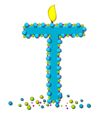 wick: The letter T, in the alphabet set Birthday Cake Candle, is aqua and outlined in fun colored sprinkles.  Flame burns from top of letter.  More sprinkles surround base of letter.