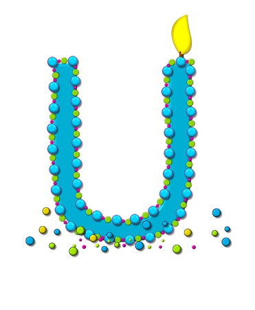 The letter U, in the alphabet set Birthday Cake Candle, is aqua and outlined in fun colored sprinkles.  Flame burns from top of letter.  More sprinkles surround base of letter. Stock Photo