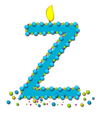 wick: The letter Z, in the alphabet set Birthday Cake Candle, is aqua and outlined in fun colored sprinkles.  Flame burns from top of letter.  More sprinkles surround base of letter.
