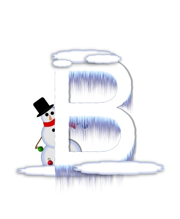 typographiy: The letter B, in the alphabet set Frosty, is a white icy letter covered in snow drifts.  A snowman decorates letter and is holding colorful Christmas ornaments. Stock Photo