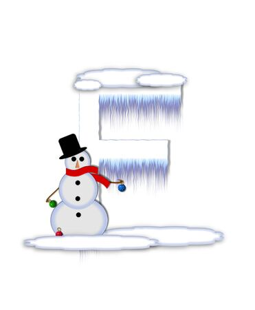 typographiy: The letter F, in the alphabet set Frosty, is a white icy letter covered in snow drifts.  A snowman decorates letter and is holding colorful Christmas ornaments.