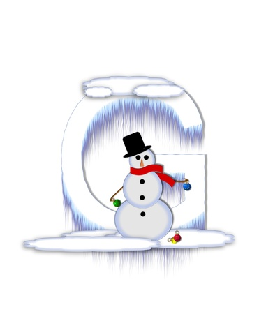 drifts: The letter G, in the alphabet set Frosty, is a white icy letter covered in snow drifts.  A snowman decorates letter and is holding colorful Christmas ornaments.