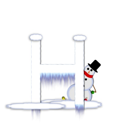 typographiy: The letter H, in the alphabet set Frosty, is a white icy letter covered in snow drifts.  A snowman decorates letter and is holding colorful Christmas ornaments.