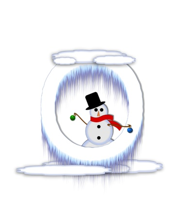 typographiy: The letter O, in the alphabet set Frosty, is a white icy letter covered in snow drifts.  A snowman decorates letter and is holding colorful Christmas ornaments. Stock Photo