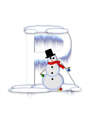 The letter R, in the alphabet set Frosty, is a white icy letter covered in snow drifts.  A snowman decorates letter and is holding colorful Christmas ornaments. Stok Fotoğraf