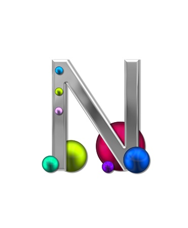 steel industry: The letter N, in the alphabet set Metal Marbles is silver with a metalic sheen.  Large and small marbles in various colors decorate letter.