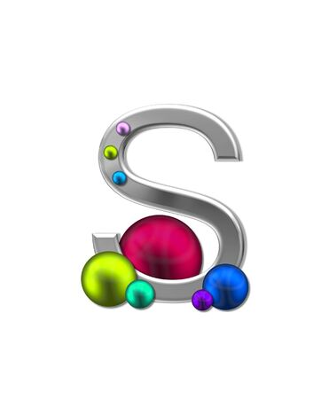 typographiy: The letter S, in the alphabet set Metal Marbles is silver with a metalic sheen.  Large and small marbles in various colors decorate letter.