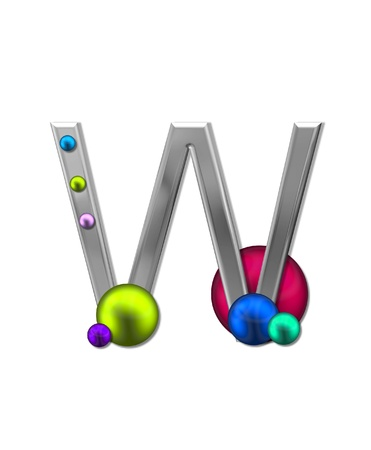 The letter W, in the alphabet set Metal Marbles is silver with a metalic sheen.  Large and small marbles in various colors decorate letter.