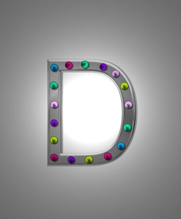 typographiy: The letter D, in the alphabet set Metal Marquee is grey metal illuminated by multi-colored light bulbs.  Background is grey with glowing white light.