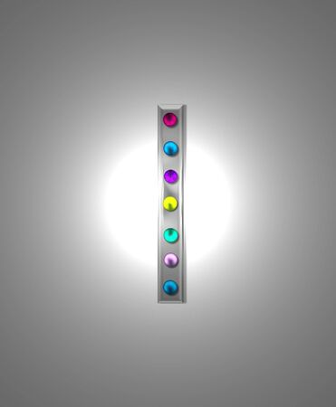 typographiy: The letter I, in the alphabet set Metal Marquee is grey metal illuminated by multi-colored light bulbs.  Background is grey with glowing white light. Stock Photo