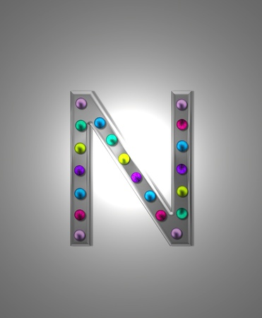 aluminum: The letter N, in the alphabet set Metal Marquee is grey metal illuminated by multi-colored light bulbs.  Background is grey with glowing white light.