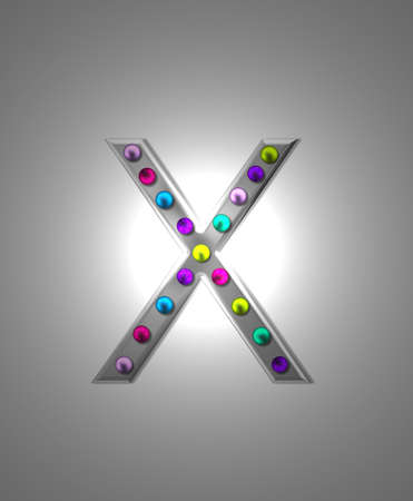 typographiy: The letter X, in the alphabet set Metal Marquee is grey metal illuminated by multi-colored light bulbs.  Background is grey with glowing white light.