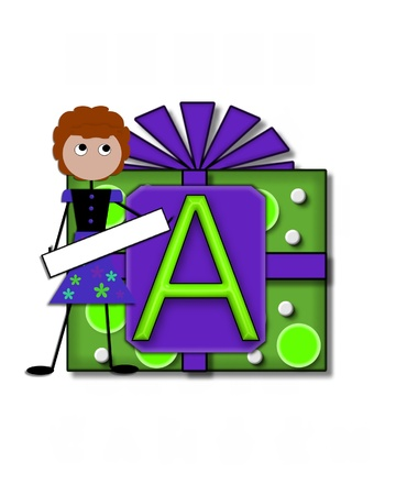 The letter A, in the alphabet set All Occasion labels the front of a gift box complete with bow.  A stick figure stands besides gift box holding a blank sign to be labeled with your special occasion. Stock Photo - 16320734