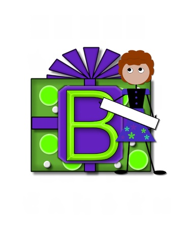 The letter B, in the alphabet set All Occasion labels the front of a gift box complete with bow.  A stick figure stands besides gift box holding a blank sign to be labeled with your special occasion. Stock Photo - 16320680