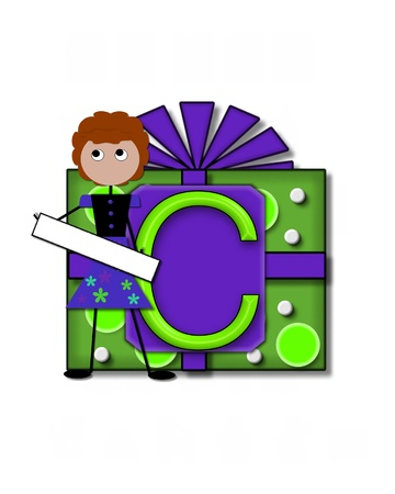 The letter C, in the alphabet set All Occasion labels the front of a gift box complete with bow.  A stick figure stands besides gift box holding a blank sign to be labeled with your special occasion. Stock Photo - 16320616