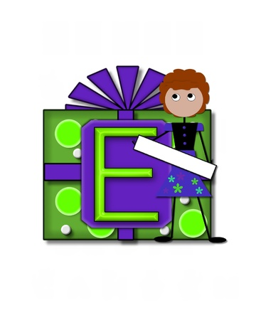 The letter E, in the alphabet set All Occasion labels the front of a gift box complete with bow.  A stick figure stands besides gift box holding a blank sign to be labeled with your special occasion. Stock Photo - 16320590