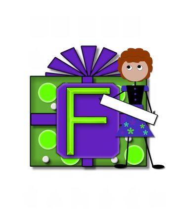 The letter F, in the alphabet set All Occasion labels the front of a gift box complete with bow.  A stick figure stands besides gift box holding a blank sign to be labeled with your special occasion. Stock Photo - 16320581