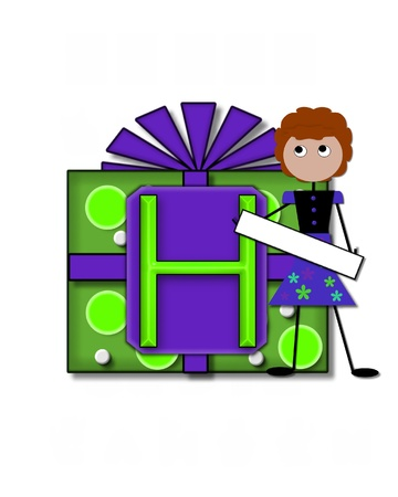 The letter H, in the alphabet set All Occasion labels the front of a gift box complete with bow.  A stick figure stands besides gift box holding a blank sign to be labeled with your special occasion. Stock Photo - 16320607