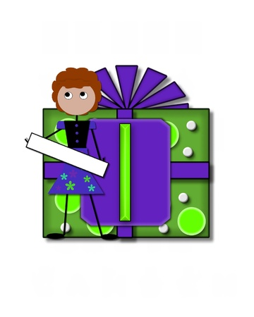 The letter I, in the alphabet set All Occasion labels the front of a gift box complete with bow.  A stick figure stands besides gift box holding a blank sign to be labeled with your special occasion. Stock Photo - 16320532