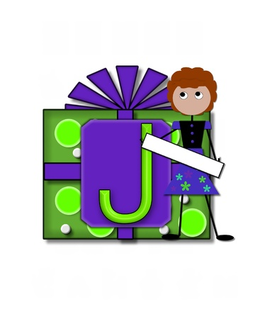 The letter J, in the alphabet set All Occasion labels the front of a gift box complete with bow.  A stick figure stands besides gift box holding a blank sign to be labeled with your special occasion. Stock Photo - 16320572
