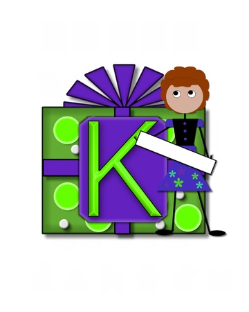 The letter K, in the alphabet set All Occasion labels the front of a gift box complete with bow.  A stick figure stands besides gift box holding a blank sign to be labeled with your special occasion. Stock Photo - 16320704