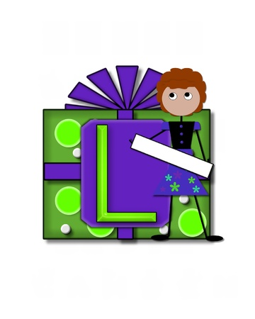 The letter L, in the alphabet set All Occasion labels the front of a gift box complete with bow.  A stick figure stands besides gift box holding a blank sign to be labeled with your special occasion. Stock Photo - 16320564