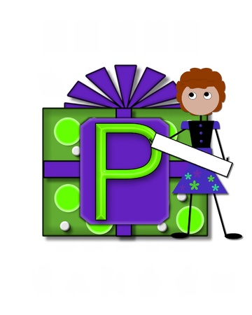 The letter P, in the alphabet set All Occasion labels the front of a gift box complete with bow.  A stick figure stands besides gift box holding a blank sign to be labeled with your special occasion. Stock Photo - 16320664