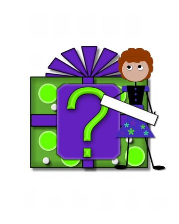 Question mark, in the alphabet set All Occasion labels the front of a gift box complete with bow.  A stick figure stands besides gift box holding a blank sign to be labeled with your special occasion. Stock Photo - 16320579