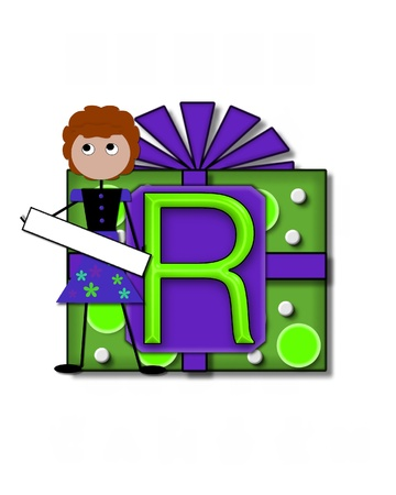 The letter R, in the alphabet set All Occasion labels the front of a gift box complete with bow.  A stick figure stands besides gift box holding a blank sign to be labeled with your special occasion. Stock Photo - 16320729