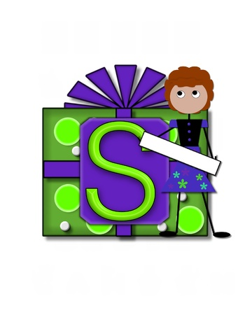 The letter S, in the alphabet set All Occasion labels the front of a gift box complete with bow.  A stick figure stands besides gift box holding a blank sign to be labeled with your special occasion. Stock Photo - 16320708