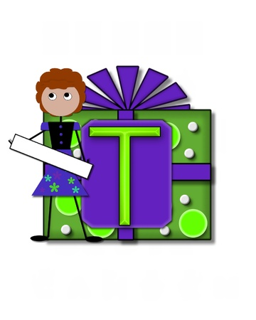 The letter T, in the alphabet set All Occasion labels the front of a gift box complete with bow.  A stick figure stands besides gift box holding a blank sign to be labeled with your special occasion. Stock Photo - 16320580