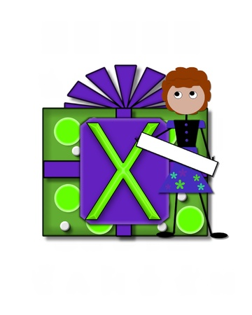 The letter X, in the alphabet set All Occasion labels the front of a gift box complete with bow.  A stick figure stands besides gift box holding a blank sign to be labeled with your special occasion. photo