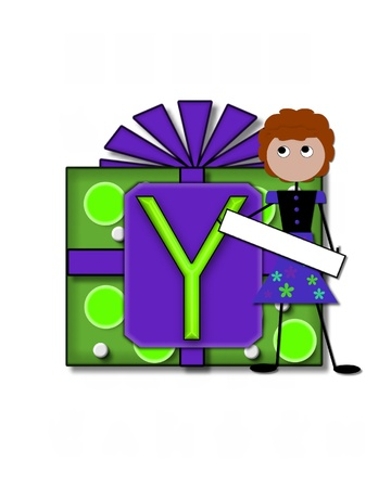 The letter Y, in the alphabet set All Occasion labels the front of a gift box complete with bow.  A stick figure stands besides gift box holding a blank sign to be labeled with your special occasion. Stock Photo - 16320584