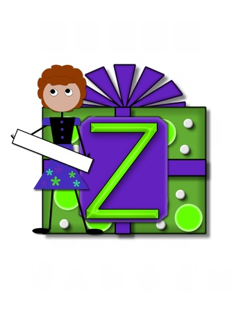 The letter Z, in the alphabet set All Occasion labels the front of a gift box complete with bow.  A stick figure stands besides gift box holding a blank sign to be labeled with your special occasion. Stock Photo - 16320673