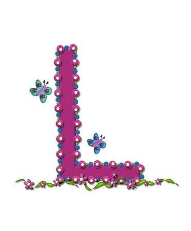 구슬 알파벳 문자 L 깊은 컬러로 상승한다. 편지는 분홍색, 파란색과 녹색 구슬, 볼에 완전하게 설명되어 있습니다. 스톡 콘텐츠