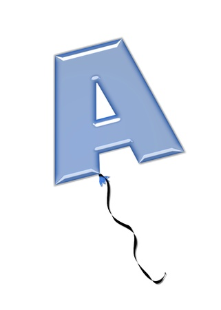 The letter A, in the alphabet set Balloon Jewels, resembles an inflated balloon tied at the knot with a black curly string   Letters, in set, come in a mixture of colors and tilting angles  photo