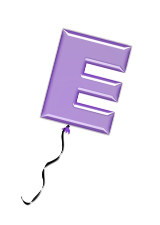 inflated: The letter E, in the alphabet set Balloon Jewels, resembles an inflated balloon tied at the knot with a black curly string   Letters, in set, come in a mixture of colors and tilting angles  Stock Photo