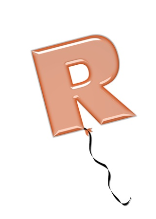 inflated: The letter R, in the alphabet set Balloon Jewels, resembles an inflated balloon tied at the knot with a black curly string.  Letters, in set, come in a mixture of colors and tilting angles.
