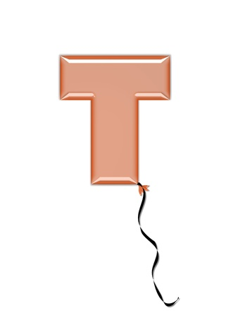 inflated: The letter T, in the alphabet set Balloon Jewels, resembles an inflated balloon tied at the knot with a black curly string.  Letters, in set, come in a mixture of colors and tilting angles. Stock Photo
