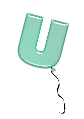 inflated: The letter U, in the alphabet set Balloon Jewels, resembles an inflated balloon tied at the knot with a black curly string.  Letters, in set, come in a mixture of colors and tilting angles.