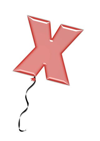 inflated: The letter X, in the alphabet set Balloon Jewels, resembles an inflated balloon tied at the knot with a black curly string.  Letters, in set, come in a mixture of colors and tilting angles. Stock Photo