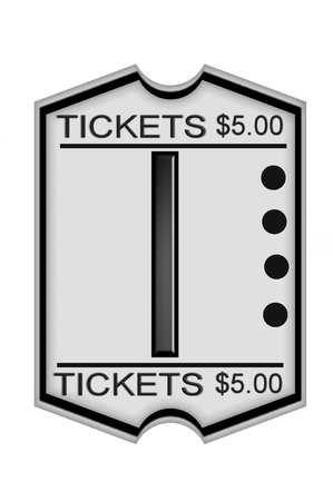 I, in the alphabet set Ticket Stub, is a black letter on a white ticket marked $5.00.